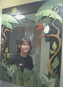 Lucia In Mirror With Toucan